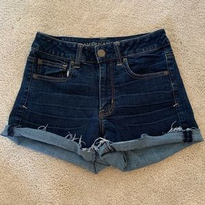 AE Super Stretch Dark Wash Cutoff Jean Shorts